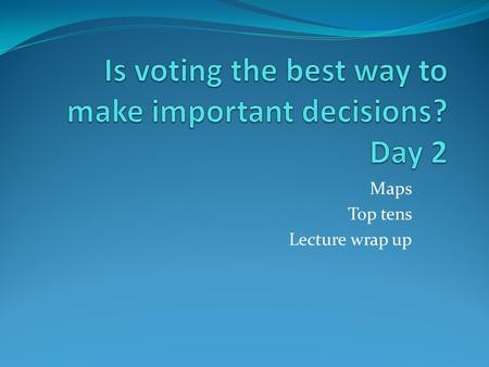 Maps Top tens Lecture wrap up. Allergies For our exemplar Please email me if you have concerns.