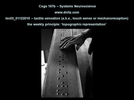 Cogs 107b – Systems Neuroscience www.dnitz.com lec03_01122010 – tactile sensation (a.k.a., touch sense or mechanoreception) the weekly principle: 'topographic.