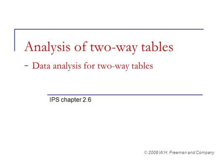 Analysis of two-way tables - Data analysis for two-way tables IPS chapter 2.6 © 2006 W.H. Freeman and Company.