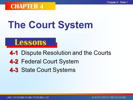LAW FOR BUSINESS AND PERSONAL USE © SOUTH-WESTERN PUBLISHING Chapter 4 Slide 1 The Court System 4-1 4-1Dispute Resolution and the Courts 4-2 4-2Federal.