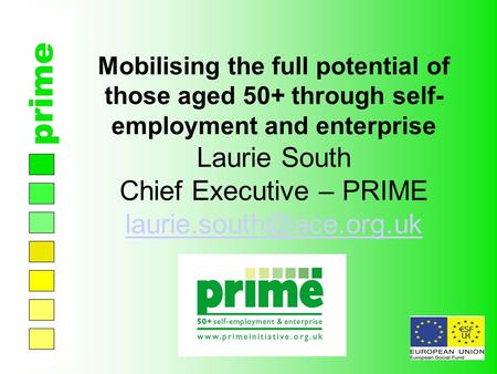 Prime Mobilising the full potential of those aged 50+ through self- employment and enterprise Laurie South Chief Executive – PRIME