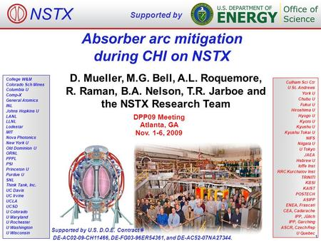 Absorber arc mitigation during CHI on NSTX D. Mueller, M.G. Bell, A.L. Roquemore, R. Raman, B.A. Nelson, T.R. Jarboe and the NSTX Research Team DPP09 Meeting.