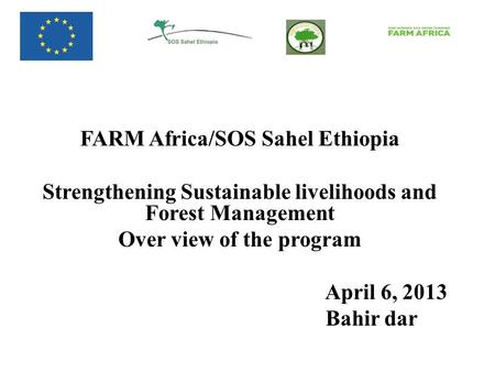 FARM Africa/SOS Sahel Ethiopia Strengthening Sustainable livelihoods and Forest Management Over view of the program April 6, 2013 Bahir dar.