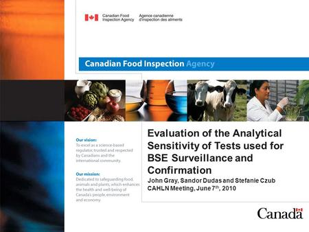 Evaluation of the Analytical Sensitivity of Tests used for BSE Surveillance and Confirmation John Gray, Sandor Dudas and Stefanie Czub CAHLN Meeting, June.