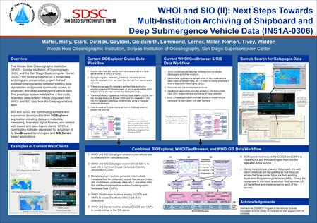 WHOI and SIO (II): Next Steps Towards Multi-Institution Archiving of Shipboard and Deep Submergence Vehicle Data (IN51A-0306) The Woods Hole Oceanographic.