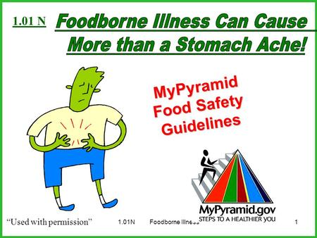 "1.01NFoodborne Illness1 MyPyramid Food Safety Guidelines ""Used with permission"" 1.01 N."