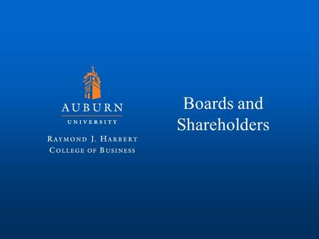 Boards and Shareholders. Boards of Directors Corporate governance: The processes, policies, and laws that govern an organization (often corporations)