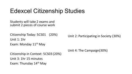 citizenship coursework edexcel