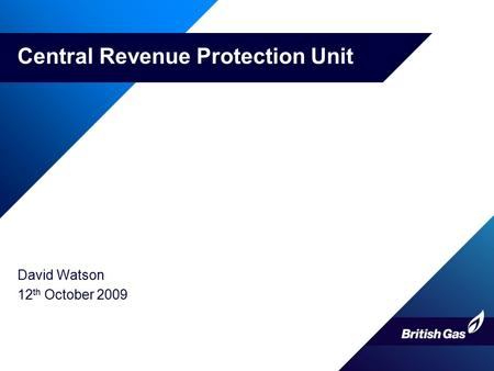 Central Revenue Protection Unit David Watson 12 th October 2009.