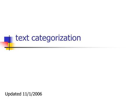 Text categorization Updated 11/1/2006. Performance measures – binary classification Accuracy: acc = (a+d)/(a+b+c+d) Precision: p = a/(a+b) Recall: r =