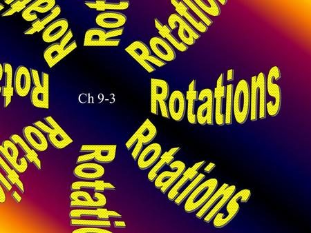 Rotations Ch 9-3 Lesson 3 MI/Vocab rotation center of rotation angle of rotation rotational symmetry invariant points direct isometry indirect isometry.
