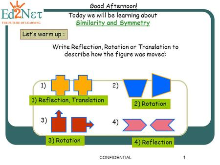 CONFIDENTIAL1 Good Afternoon! Today we will be learning about Similarity and Symmetry Let's warm up : Write Reflection, Rotation or Translation to describe.
