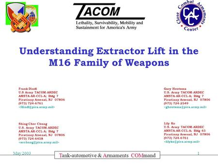 Committed to Excellence May 20031 TACOM Tank-automotive & Armaments COMmand Understanding Extractor Lift in the M16 Family of Weapons Frank Dindl U.S Army.