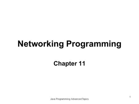 Java Programming: Advanced Topics 1 Networking Programming Chapter 11.