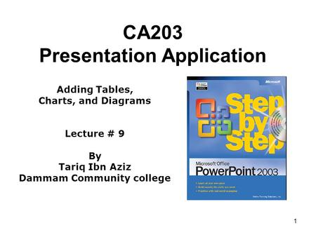 1 CA203 Presentation Application Adding Tables, Charts, and Diagrams Lecture # 9 By Tariq Ibn Aziz Dammam Community college.