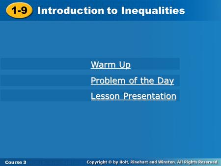 Introduction to Inequalities
