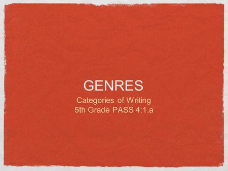 GENRES Categories of Writing 5th Grade PASS 4:1.a.