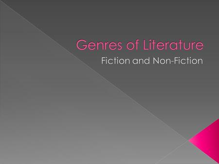  Genres of literature are divided into (2) categories  Non-Fictions are informational texts dealing with real-life subjects › Real or Actual  Fictions.