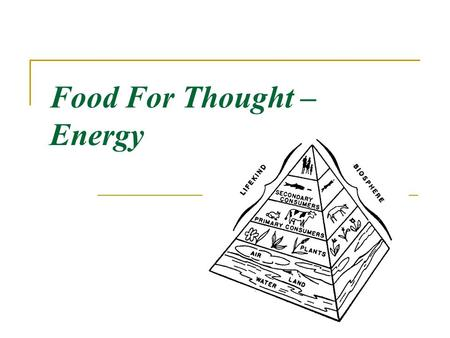 Food For Thought – Energy. Ecology the study of the RELATIONSHIPS of living things to EACH OTHER and their ENVIRONMENT (surroundings)