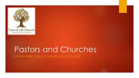 Pastors and Churches SESSION THREE: DREAMS, SCHEMES, THEMES, CULTURE.