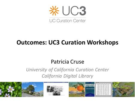 Outcomes: UC3 Curation Workshops Patricia Cruse University of California Curation Center California Digital Library.