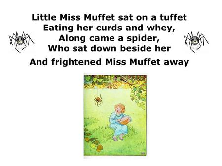 Little Miss Muffet sat on a tuffet Eating her curds and whey, Along came a spider, Who sat down beside her And frightened Miss Muffet away.