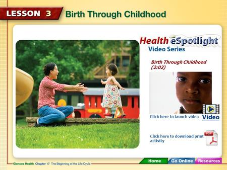 Birth Through Childhood (2:02) Click here to launch video Click here to download print activity.