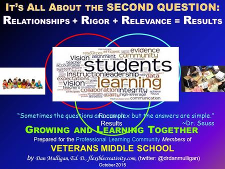Prepared for the Professional Learning Community Members of VETERANS MIDDLE SCHOOL by Dan Mulligan, Ed. D., flexiblecreativity.com,