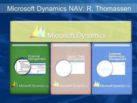 Microsoft Dynamics NAV: R. Thomassen. Freedom to Focus on your Business Microsoft Dynamics NAV.