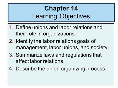 Chapter 14 Learning Objectives 1.Define unions and labor relations and their role in organizations. 2.Identify the labor relations goals of management,