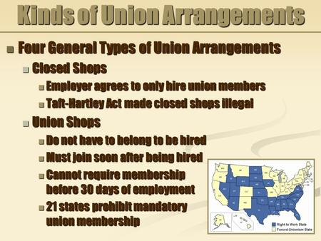 Kinds of Union Arrangements Four General Types of Union Arrangements Four General Types of Union Arrangements Closed Shops Closed Shops Employer agrees.