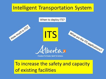 ITS What are the ITS applications? To increase the safety and capacity of existing facilities How much is ITS? When to deploy ITS? Intelligent Transportation.