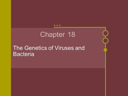 Chapter 18 The Genetics of Viruses and Bacteria. Tobacco Mosaic Virus In the late 19th century, scientists were working with a disease that infected the.