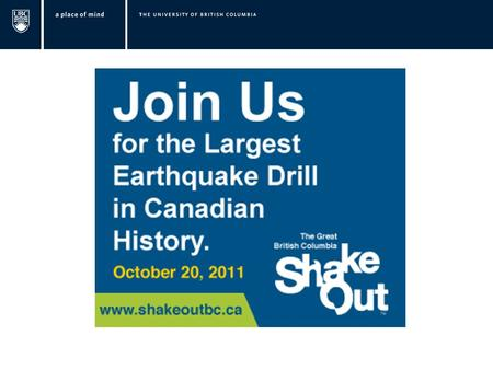 Thursday, October 20, 2011 10:20 a.m. Be prepared because this is earthquake country!