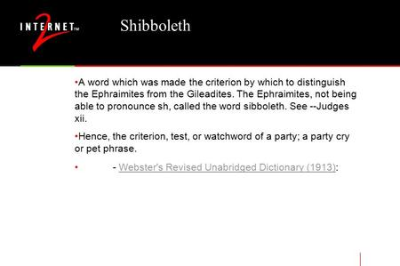 Shibboleth A word which was made the criterion by which to distinguish the Ephraimites from the Gileadites. The Ephraimites, not being able to pronounce.