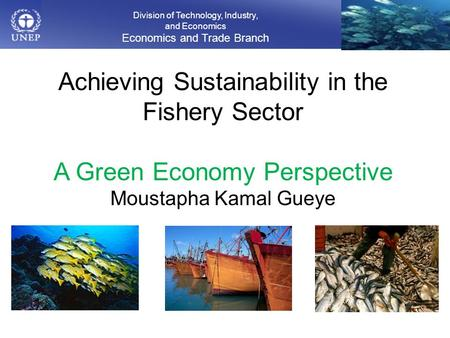 Division of Technology, Industry, and Economics Economics and Trade Branch Achieving Sustainability in the Fishery Sector A Green Economy Perspective Moustapha.