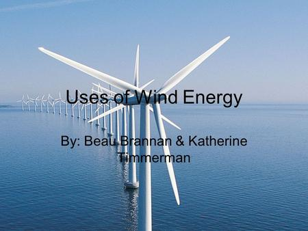 Uses of Wind Energy By: Beau Brannan & Katherine Timmerman.