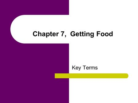 Chapter 7, Getting Food Key Terms. agriculture A form of food production that requires intensive working of the land with plows and draft animals and.