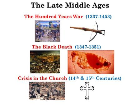The Late Middle Ages The Hundred Years War (1337-1453) The Black Death (1347-1351) Crisis in the Church (14 th & 15 th Centuries)