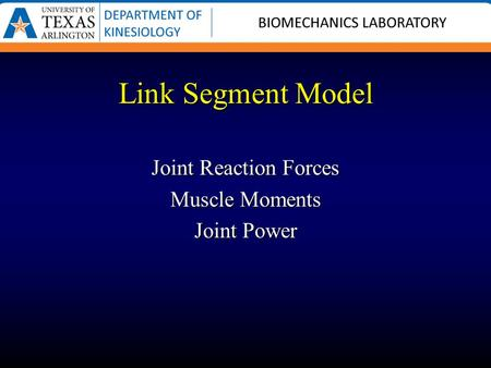Link Segment Model Joint Reaction Forces Muscle Moments Joint Power.