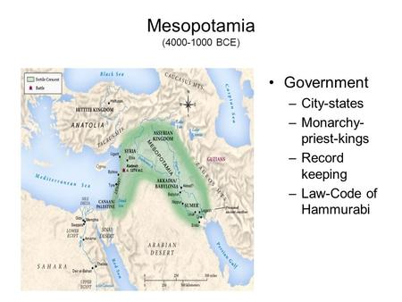 Mesopotamia (4000-1000 BCE) Government –City-states –Monarchy- priest-kings –Record keeping –Law-Code of Hammurabi.