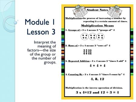 Module 1 Lesson 3 Interpret the meaning of factors—the size of the group or the number of groups.
