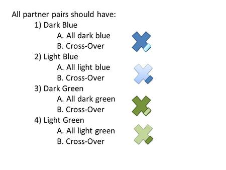 All partner pairs should have: 1) Dark Blue A. All dark blue B. Cross-Over 2) Light Blue A. All light blue B. Cross-Over 3) Dark Green A. All dark green.