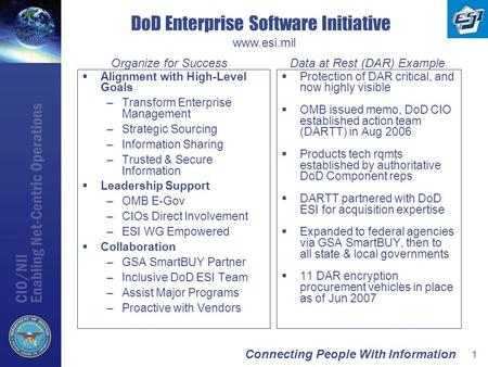 Connecting People With Information 1 DoD Enterprise Software Initiative  Alignment with High-Level Goals –Transform Enterprise Management –Strategic Sourcing.