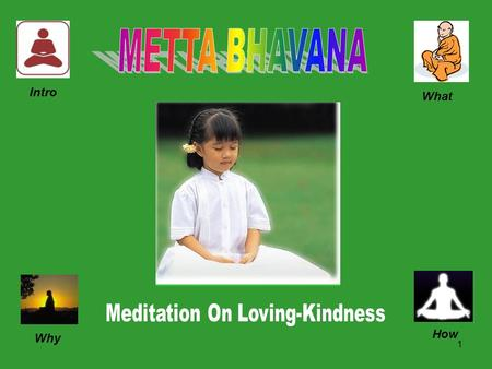 1 Intro What Why How. 2 METTA BHAVANA is the Meditation on Loving-Kindness.