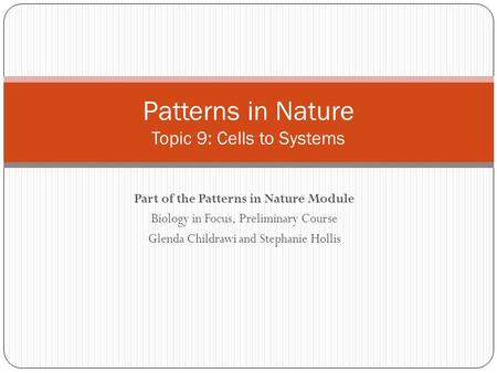 Patterns in Nature Topic 9: Cells to Systems