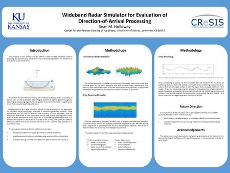Wideband Radar Simulator for Evaluation of Direction-of-Arrival Processing Sean M. Holloway Center for the Remote Sensing of Ice Sheets, University of.