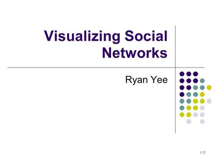 1/25 Visualizing Social Networks Ryan Yee. 2/25 Plan Introduction and terminology Vizster NodeTrix MatLink Applications to Multi-agent systems.