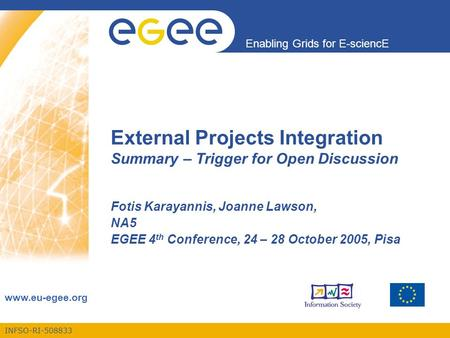 INFSO-RI-508833 Enabling Grids for E-sciencE www.eu-egee.org External Projects Integration Summary – Trigger for Open Discussion Fotis Karayannis, Joanne.