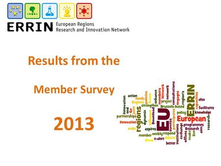 Results from the Member Survey 2013. Member Survey 2013 Positive 80% satisfaction level with ERRIN Positive view of Working Groups Positive view of ERRIN.